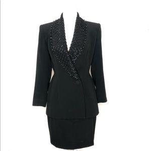 Vintage Neiman Marcus Bill Blass Black Beaded Suit